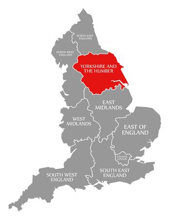 Yorkshire and the Humber red highlighted in map of England UK 版權商用圖片