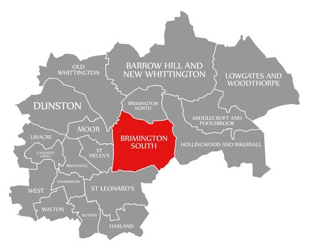 Brimington South red highlighted in map of Chesterfield district in East Midlands England UK Banco de Imagens