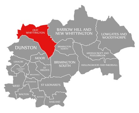 Old Whittington red highlighted in map of Chesterfield district in East Midlands England UK Banco de Imagens