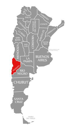 Neuquen red highlighted in map of Argentina