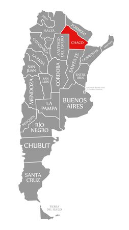 Chaco red highlighted in map of Argentina