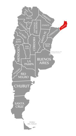 Misiones red highlighted in map of Argentina