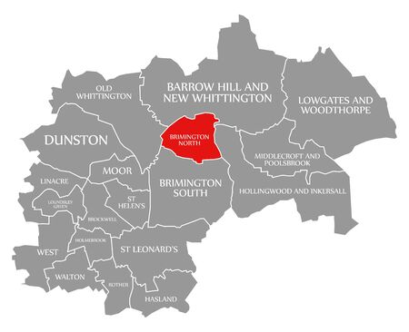 Brimington North red highlighted in map of Chesterfield district in East Midlands England UK