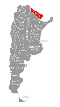 Formosa red highlighted in map of Argentina Banco de Imagens