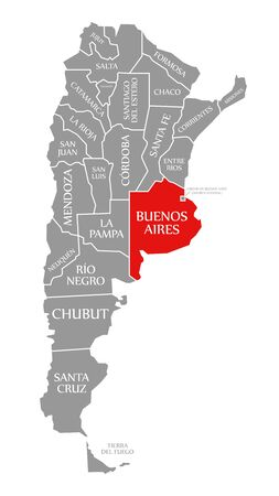Buenos Aires red highlighted in map of Argentina