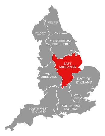 East Midlands red highlighted in map of England UK