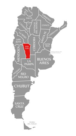 San Luis red highlighted in map of Argentina