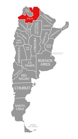 Salta red highlighted in map of Argentina