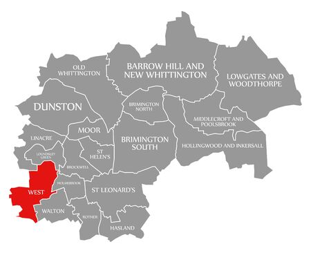 West red highlighted in map of Chesterfield district in East Midlands England UK Banco de Imagens