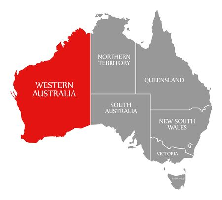 Western Australia red highlighted in map of Australia Banco de Imagens