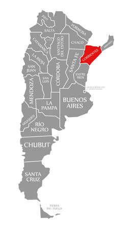 Corrientes red highlighted in map of Argentina
