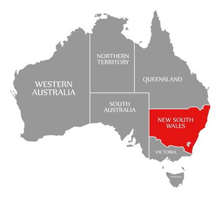 New South Wales red highlighted in map of Australia