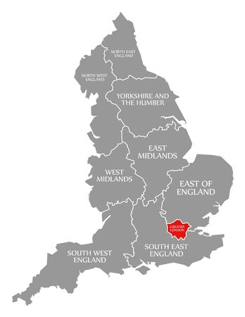 Greater London red highlighted in map of England UK