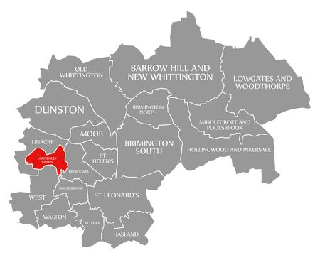 Loundsley Green red highlighted in map of Chesterfield district in East Midlands England UK