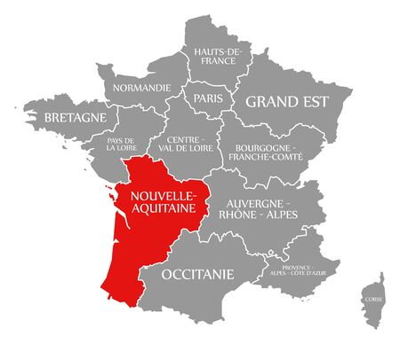 Nouvelle-Aquitaine red highlighted in map of France