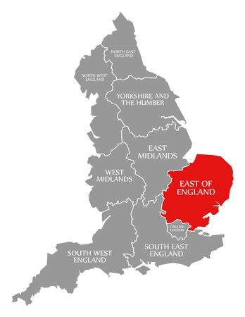 East of England red highlighted in map of England UK