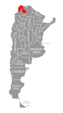 Jujuy red highlighted in map of Argentina