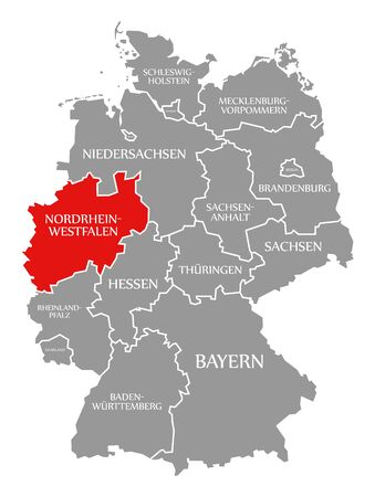 North Rhine Westphalia red highlighted in map of Germany Stockfoto