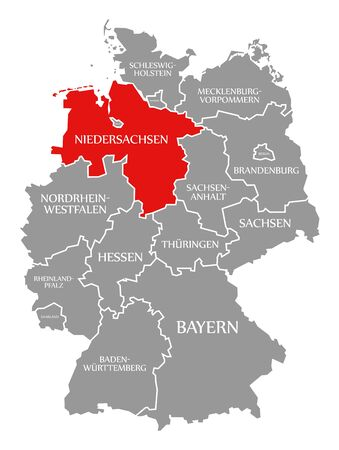 Lower Saxony red highlighted in map of Germany