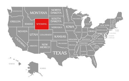 Wyoming red highlighted in map of the United States of America