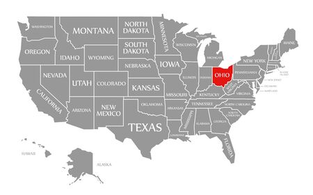 Ohio red highlighted in map of the United States of America Stock fotó