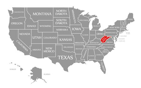 West Virginia red highlighted in map of the United States of America