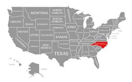 North Carolina red highlighted in map of the United States of America