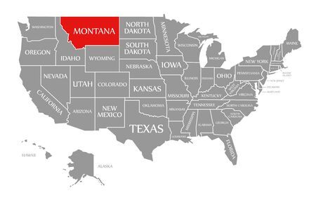 Montana red highlighted in map of the United States of America