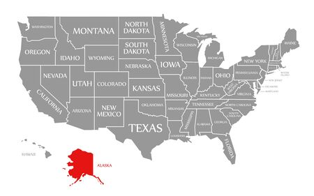 Alaska red highlighted in map of the United States of America Stock fotó