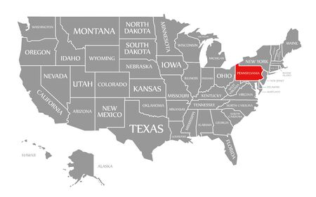 Pennsylvania red highlighted in map of the United States of America Stock Photo