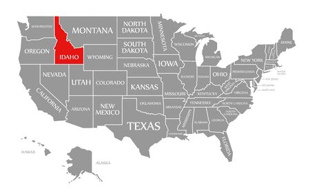Idaho red highlighted in map of the United States of America