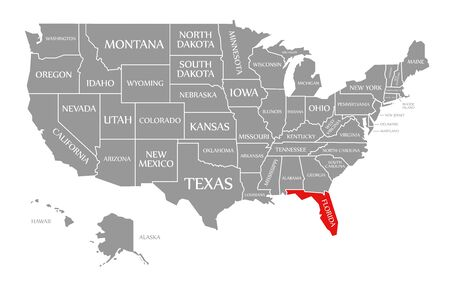 Florida red highlighted in map of the United States of America Stock Photo