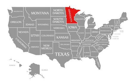 Minnesota red highlighted in map of the United States of America Stock Photo