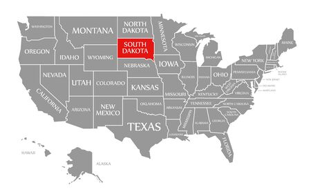 South Dakota red highlighted in map of the United States of America