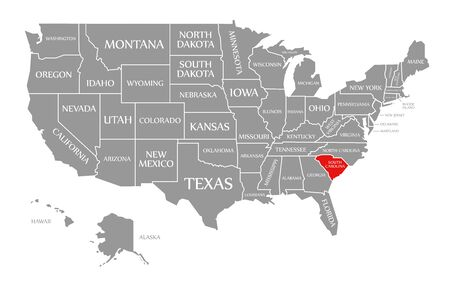 South Carolina red highlighted in map of the United States of America