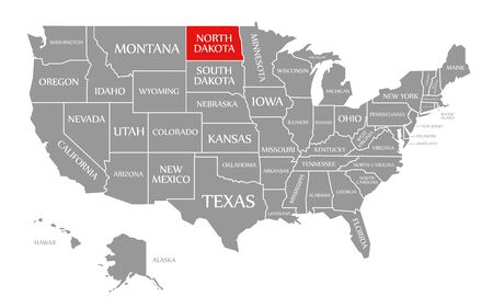 North Dakota red highlighted in map of the United States of America
