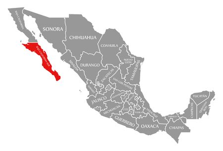 Baja California Sur red highlighted in map of Mexico