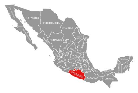 Guerrero red highlighted in map of Mexico