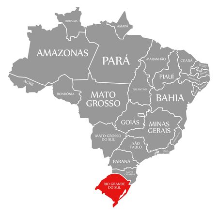 Rio Grande do Sul red highlighted in map of Brazil