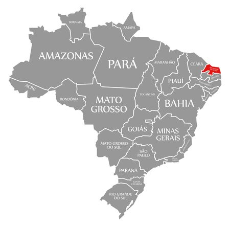 Rio Grande do Norte red highlighted in map of Brazil