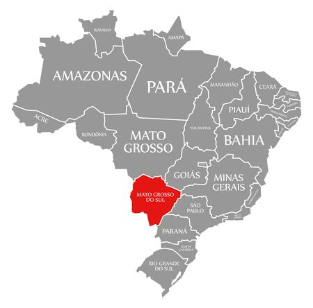 Mato Grosso do Sul red highlighted in map of Brazil