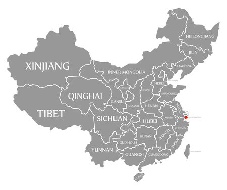 Shanghai red highlighted in map of China