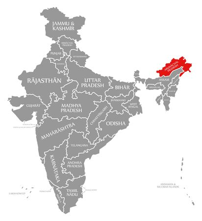 Arunachal Pradesh red highlighted in map of India