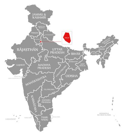 Delhi red highlighted in map of India