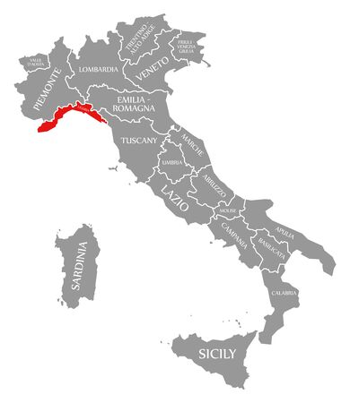 Liguria red highlighted in map of Italy 스톡 콘텐츠