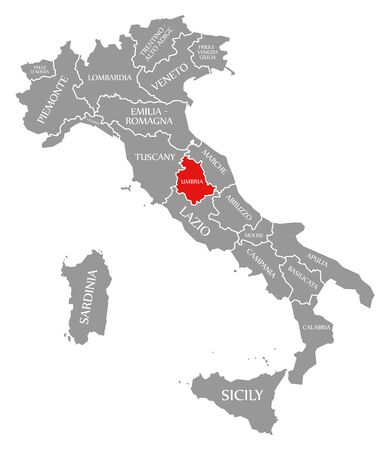 Umbria red highlighted in map of Italy 版權商用圖片
