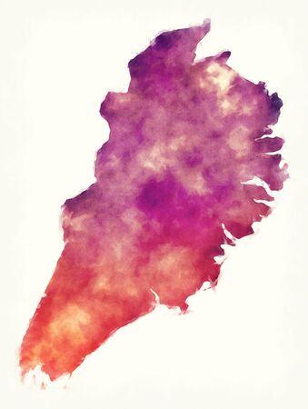 Eastern Region watercolor map of Iceland Archivio Fotografico - 133486192