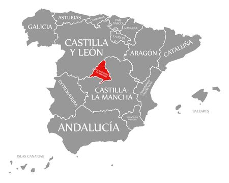 Community of Madrid red highlighted in map of Spain Reklamní fotografie