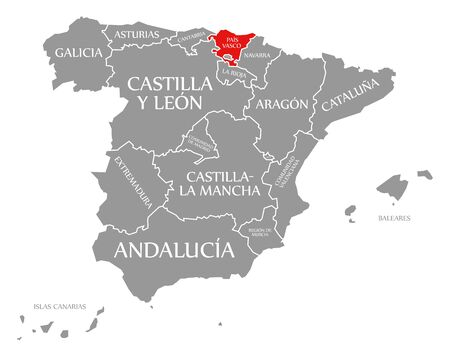 Basque Autonomous Community red highlighted in map of Spain