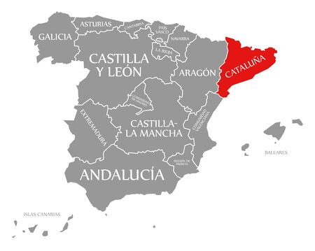 Cataluna red highlighted in map of Spain